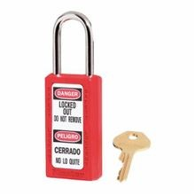 Master Lock 411RED Zenex Lockout Padlock, Keyed Different Key, Red, Thermoplastic Body, 1/4 in Dia x 1-1/2 in H x 25/32 in W Hardened Steel Shackle, 3 in L Body