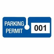 Brady 95205 Rearview Mirror Hanging Tag, 4-3/4 in W x 2 in H, Parking Permit, Blue