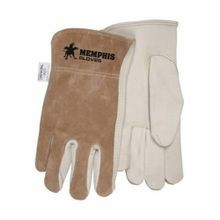 Memphis 3204L Premium Grade Drivers Gloves, L, Grain Cowhide Leather Palm, Beige, Gunn Cut/Standard Finger/Keystone Thumb Kevlar Thread/Leather