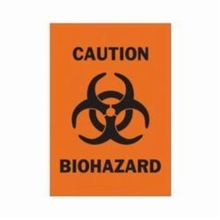 Brady 89164 High Performance Rectangular Biohazard Sign, 14 in H x 10 in W, Black on Orange, Self-Adhesive Mount, B-485 Polyester