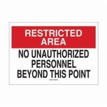 Brady 40750 Rectangular Admittance Sign, 10 in H x 14 in W, Black/Red on White, Corner Hole Mount, B-555 Aluminum