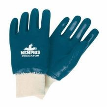 Memphis 9751-L Premium Grade Single Dipped Supported Coated Gloves, L, Nitrile Palm, Blue