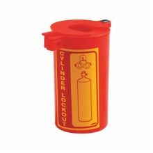 Brady Prinzing LM023E Gas Cylinder Lockout, 3.47 in Dia x 6-1/4 in H, Polyethylene, Red, For Use With 3-1/2 in Dia Neck Ring