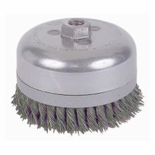 Weiler 12686 Banded Extra Heavy Duty Cup Brush, 6 in Dia, 5/8-11 UNC, 0.035 in Steel Standard/Twist Knot Wire