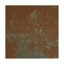 2' Square Antique Copper Patina Lay In Premium Decorative Stamped Steel Ceiling Panel