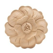 Hand Carved Unfinished | Solid North American Hardwood | Rosette Applique | RWC02 Series