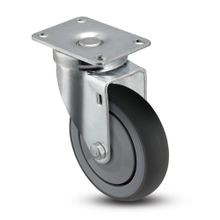 4in Dia | Gray Swivel NSF Series Institutional Caster | Top Plate 2-3/4in x 3-3/4in
