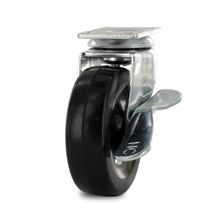 2-1/2in Dia | Black Swivel Imported Single Wheel Series Industrial Caster with Brake | 1-3/16 x 2in Rectangular Top Plate