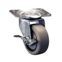 3in Dia | Gray Swivel with Brake 400 Series Industrial Caster | 2-7/8in x 3-5/8in Top Plate