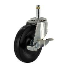 2-1/2in Dia | Zinc Plated Steel Swivel with Brake Summit Series Industrial Caster | 7/16 x 1-3/8in Friction Ring Stem