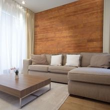 5-1/8in W x 3/16in Thick x 46-1/2in Long | Amber Finish Pine Planks | Wood Wallscapes Wallcovering