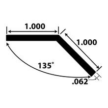 1in x 1in x 1/16in Thick | Aluminum Even Leg | Angle Moulding | 12ft Length