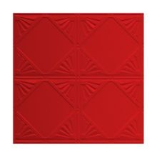 2' Square Fire English Red Lay In Premium Decorative Stamped Steel Ceiling Panel
