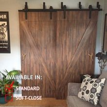 Sliding Barn Door Hardware Kits for By-Passing Wood Doors Up to 34in W | Black Powder Coated Finish | 68-7/8in Rail Length