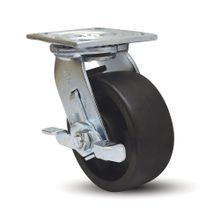 8in Dia | Black Swivel with Brake Heavy Duty Institutional Caster |  3-7/8in x 4-1/2in Top Plate