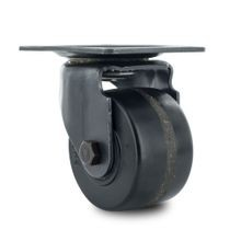3in Dia | Black Swivel with Brake Low Profile Buisness Machine Caster | 3-1/8in x 4-1/4in Top Plate