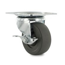 3in Dia | Black Swivel with Brake 100 Series Industrial Caster | 3-1/8inx4-1/8 Top Plate