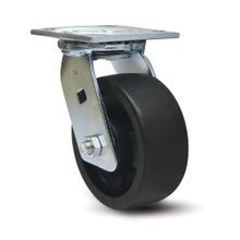 6in Dia | Black Swivel Heavy Duty Institutional Caster |  3-7/8in x 4-1/2in Top Plate