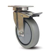 4in Dia | Swivel with Brake Ergonomic Institutional Caster | 3-5/8in x 2-7/8in Top Plate | J26T Series