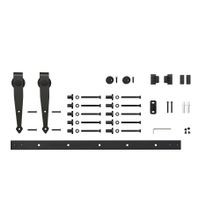 6ft Arrow Furniture Sliding Barn Door Hardware Kit for Single Door up to 36in W | Black Powder Coated Finish