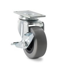 2in Dia | Grey Swivel Imported Single Wheel Series Industrial Caster with Brake | 1-3/16 x 2in Rectangular Top Plate