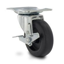 4in Dia x 1in Tread Width | Black Swivel DF Series Industrial Caster with Brake | 2-3/4in x 3-3/4in Top Plate