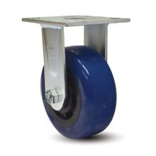 5in Dia | Blue Tread with Black Hub | Rigid Heavy Duty Institutional Caster |  3-7/8in x 4-1/2in Top Plate
