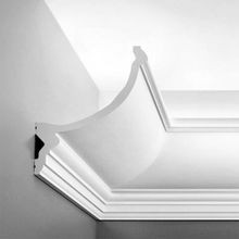 Orac Decor Polyurethane Crown Moulding For Indirect Lighting, Primed White. Face: 8-5/8