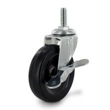 3in Dia | Black Swivel Imported Single Wheel Series Industrial Caster with Brake | 3/8-16 x 1in Threaded Stem