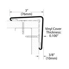 3in x 3in x 3/8in Thick | PVC Covered Aluminum Corner Guard | 90° Angle Moulding