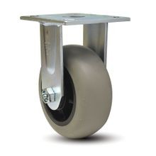 6in Dia | Grey Tread with Black Hub Rigid Heavy Duty Institutional Caster |  3-7/8in x 4-1/2in Top Plate