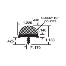 1-1/4in Black High Profile Dual Durometer | Glossy Bumper Tee Moulding