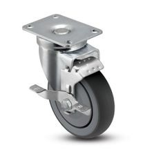 3in Dia | Gray Swivel NSF Series Institutional Caster with Brake | Top Plate 2-3/4in x 3-3/4in