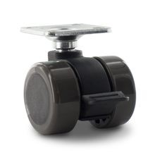 1-1/2in Dia | Grey Swivel Non Hooded Mity Mite Twin Wheel Furniture Caster with Brake | 1-1/2in Square Top Plate