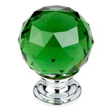 Green Crystal Knob Polished Chrome Base