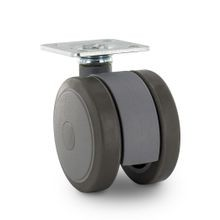 2in Dia | Two-Tone Gray | Swivel Twin Wheel Series Institutional Caster | Square Top Plate 1-1/2in x 1-1/2in