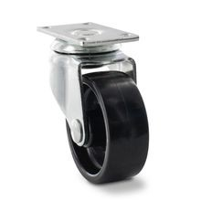 2in Dia | Black Polypropylene | Swivel Imported Single Wheel Series Industrial Caster | 1-3/16 x 2in Rectangular Top Plate