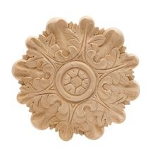 Hand Carved Unfinished | Solid North American Hardwood | Rosette Applique | RWC004 Series