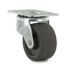 2in Dia | Black Hard Rubber Swivel 100 Series Industrial Caster | 1-7/8in x 2-9/16in Top Plate