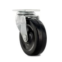2-1/2in Dia | Black Swivel Imported Single Wheel Series Industrial Caster | 1-3/16 x 2in Rectangular Top Plate