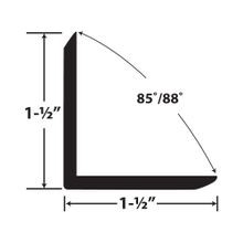 1-1/2in x 1-1/2in x 1/8in Thick | Styrene Even Leg | 90° Angle Moulding | 12ft Length
