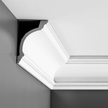 Orac Decor | Flexible Polyurethane Crown Moulding | Primed White  | 6-1/8in H x 4in Proj x 7-1/4in Face