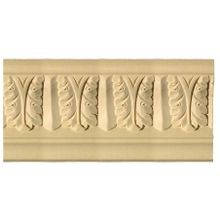 4in Face x 4in H x 4in Proj | Unfinished White Hardwood Hand Carved Wood | Crown Moulding | 8ft Long | Style CARM-3