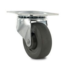 4in Dia | Black Hard Rubber Swivel 100 Series Industrial Caster | 4in x 5-1/8in Top Plate