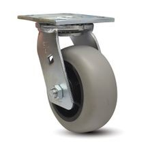 6in Dia | Grey Tread with Black Hub | Swivel Heavy Duty Institutional Caster |  3-7/8in x 4-1/2in Top Plate
