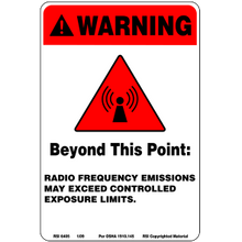 RED RF WARNING SIGN - ALUMINUM