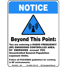 BLUE RF NOTICE SIGN - SMALL - PLASTIC