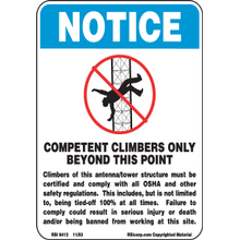 COMPETENT CLIMBERS ONLY SIGN - PLASTIC