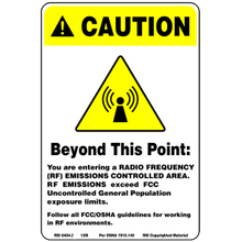 YELLOW RF CAUTION SIGN - PLASTIC