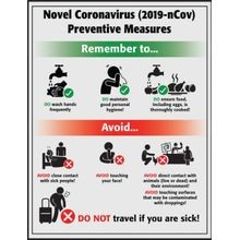 Accuform<sup>®</sup> SP125293JL Safety Poster: Novel Coronavirus (COVID-19) Preventative Measures
